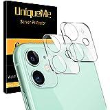 "UniqueMe [2 Pack] Protector de Lente de cámara Compatible con iPhone 11 (6.1"") / iPhone 12 Mini (5.4"") Cristal Templado, Prot"
