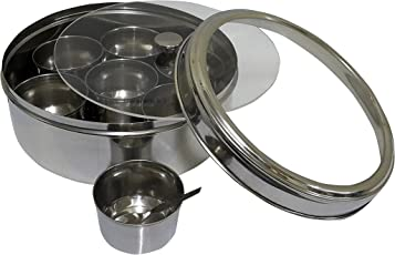 Dynore Stainless Steel Spice Box Set, 10-Pieces, Silver (DS_327)