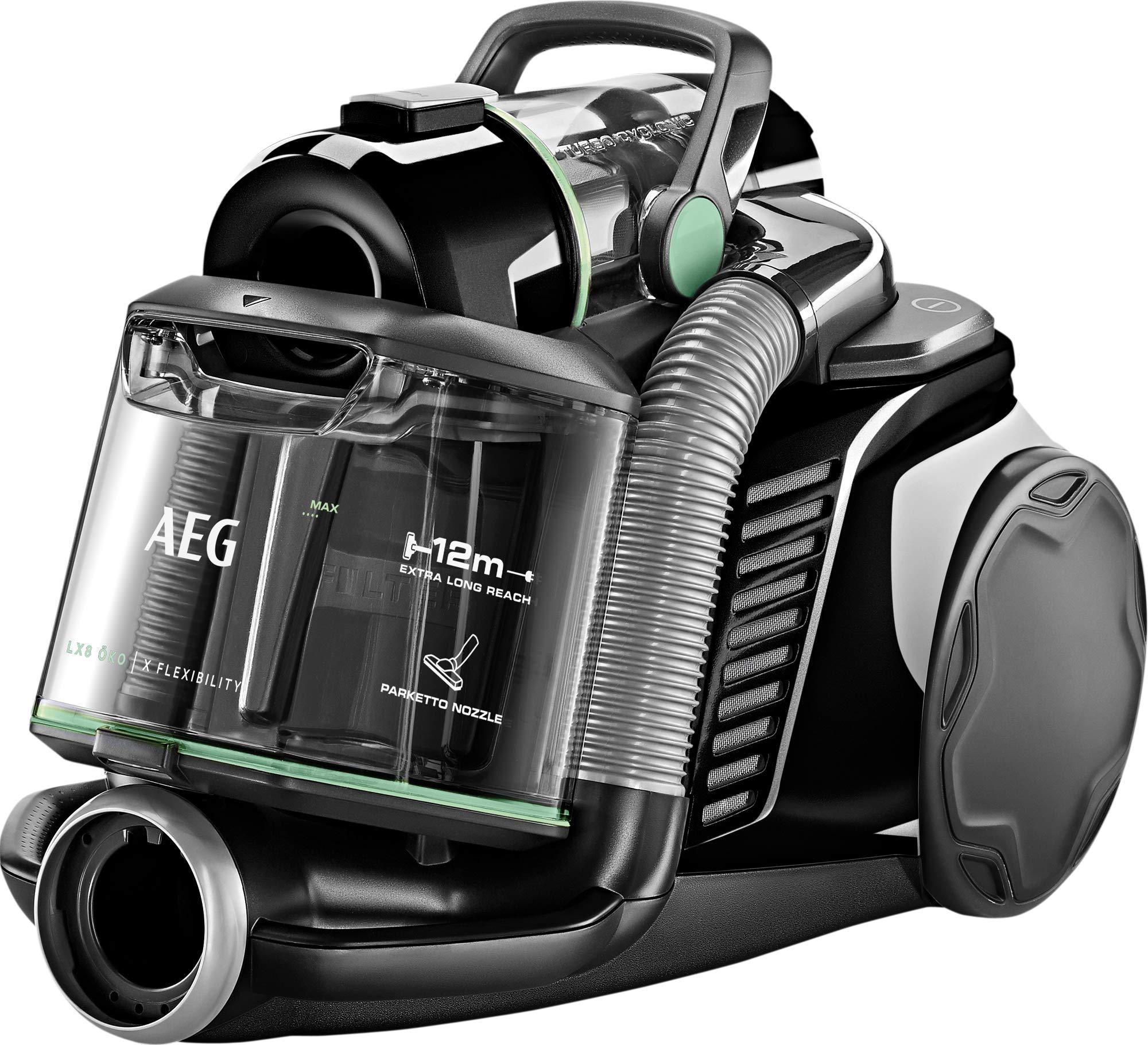 AEG LX8-2-ÖKO Staubsauger ohne Beutel (65% Recyclingmaterial, inkl. Zusatzdüsen, stufenlose Leistungsregulierung, 600…