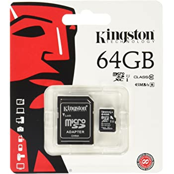 Kingston Technology SDCX10/64GB 64 GB micro SDXC Class 10 Flash Card with SD Card Adapter
