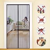 MYCARBON Magnetisch vliegengaas deur, 90x210cm, insectenbescherming, balkondeur, vliegengordijn, 10 x sterker dan normaal vli