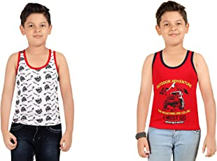 Red Rose Boys Cartoon Printed Vest (Pack of 2 Pcs.)