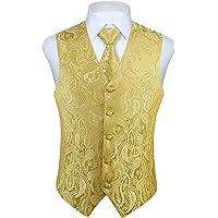 Enlision Gilet da Abito da Uomo Panciotto Paisley Floral Jacquard Cravatta Fazzoletto da Taschino Set Cerimonia Festa…