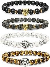 BE STEEL Schmuck 4Pcs Lava Rock Perlen Armbänder für Herren und Damen Armband Löwe Leopard Kopf Punk Set Elastisch 8mm