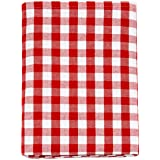 "Nappe en vichy rouge - Rectangulaire - 100 % coton - Carreaux rouges et blancs , 100 % coton, Red, 59 x 118"" (150 x 300cm)"