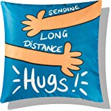 Vendola One Hug for You Long Distance Relationship Printed Cushion Cover - Gift for Boyfriend Girlfriend (with Filler, 16X16