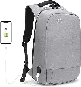 Fresion Anti-diebstahl Laptop Rucksack mit USB Ladeanschluss, Laptop Business Rucksäcke für Arbeit Reisen, Herren Rucksack diebstahlsicher Schul-Rucksack für 15,6 Zoll Notebook Computer, Grau