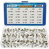 BOJACK 15 Valori 150 pezzi Kit di classificazione dei fusibili in vetro a fusione rapida 5x20mm 250V 0.1 0.2 0.25 0.5 1…