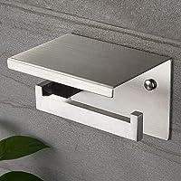 Ruicer Porte Papier Toilettes avec Etagère, Support Papier Toilette SUS 304 Acier Inoxydable Auto-adhésif ou…