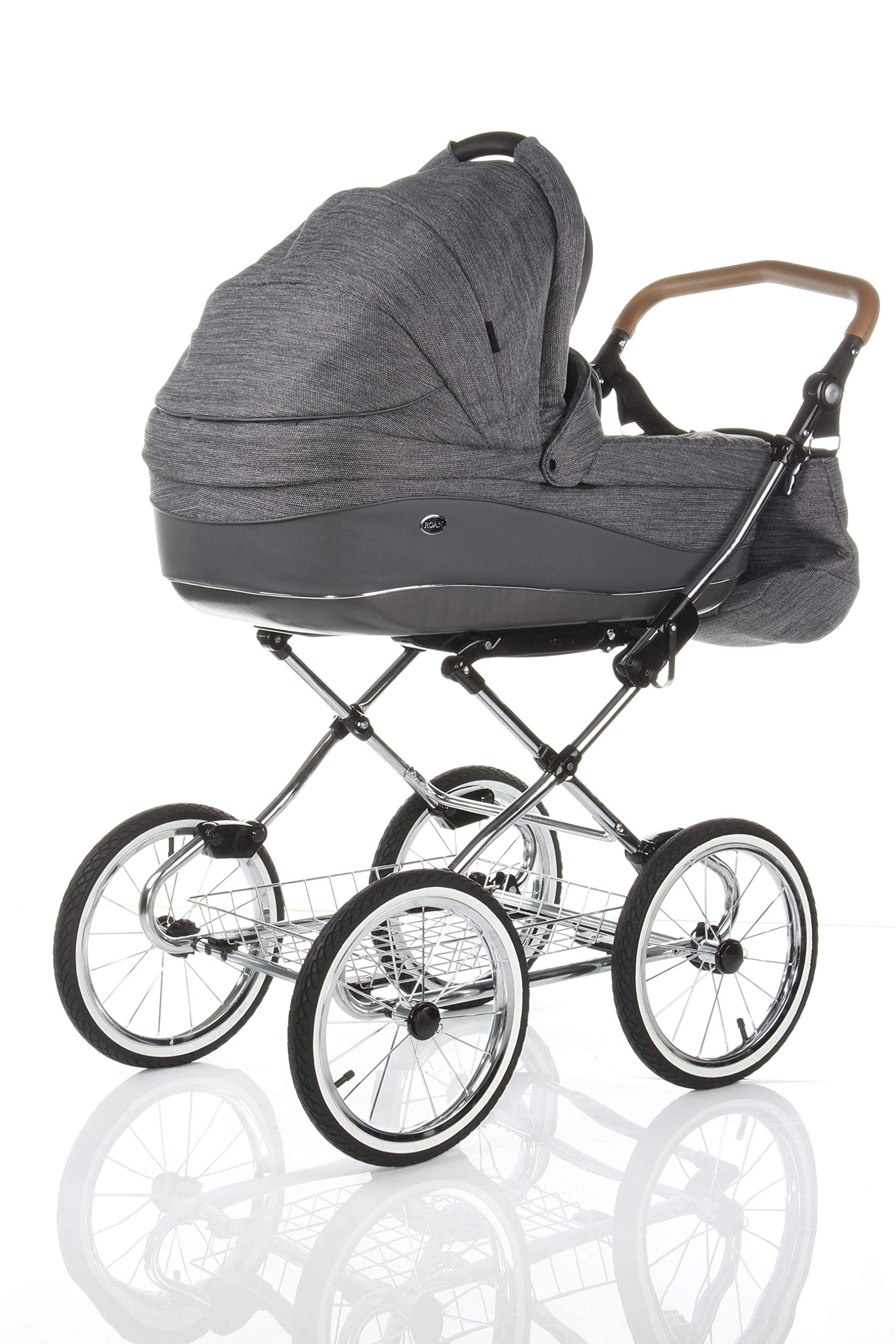 Children's Pram Buggy Stroller Combination Car seat Classic Retro Baby Carrier ROAN Emma (E-81 Dark Grey Melange-Grey Leather, 2IN1) JUNAMA Frame / wheels Sturdy and lightweight aluminum frame construction with folding function 1-click system for easy assembly and disassembly Practical carrying handle for easy storage of the folded frame Wheels for inflating (14 inch) removable wheels Brake system with central brake Height-adjustable push handle - 10-fold matching shopping basket Dimensions folded with wheels: 86 x 60 x 40 cm folded without wheels: 76 x 60 x 26 cm Total height of the stroller to hood top: 106 cm Height of the tub from the ground: 60 cm Wheelbase External dimensions: 80x 58 cm Variable height of the push handle: 77- 119 cm Weight of the frame incl. Wheels and carrying bag 15 kg Carrycot Length and width of carrycot outside: 88 x 42 cm Carrying bag length and width inside: 76 x 35 cm Sturdy plastic tub with comfortable mattress and side protection Ventilation slots on the plastic tub The baby car seat 0-13 kg Maxi-Cosi in black incl. Adapter 4