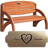 Geschenke 24 Personalisierte Gartenbank zur Goldenen Hochzeit - persönliches Geschenk mit Gravur - eine schöne Geschenkidee zum 50. Hochzeitstag für Männer und Frauen (Kirschbaum)