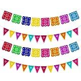 Qpout 4 pièces Jour des bannières mortes, fête de fête Mexicaine colorée Dia De Los Muertos décoration de Guirlande, fête de
