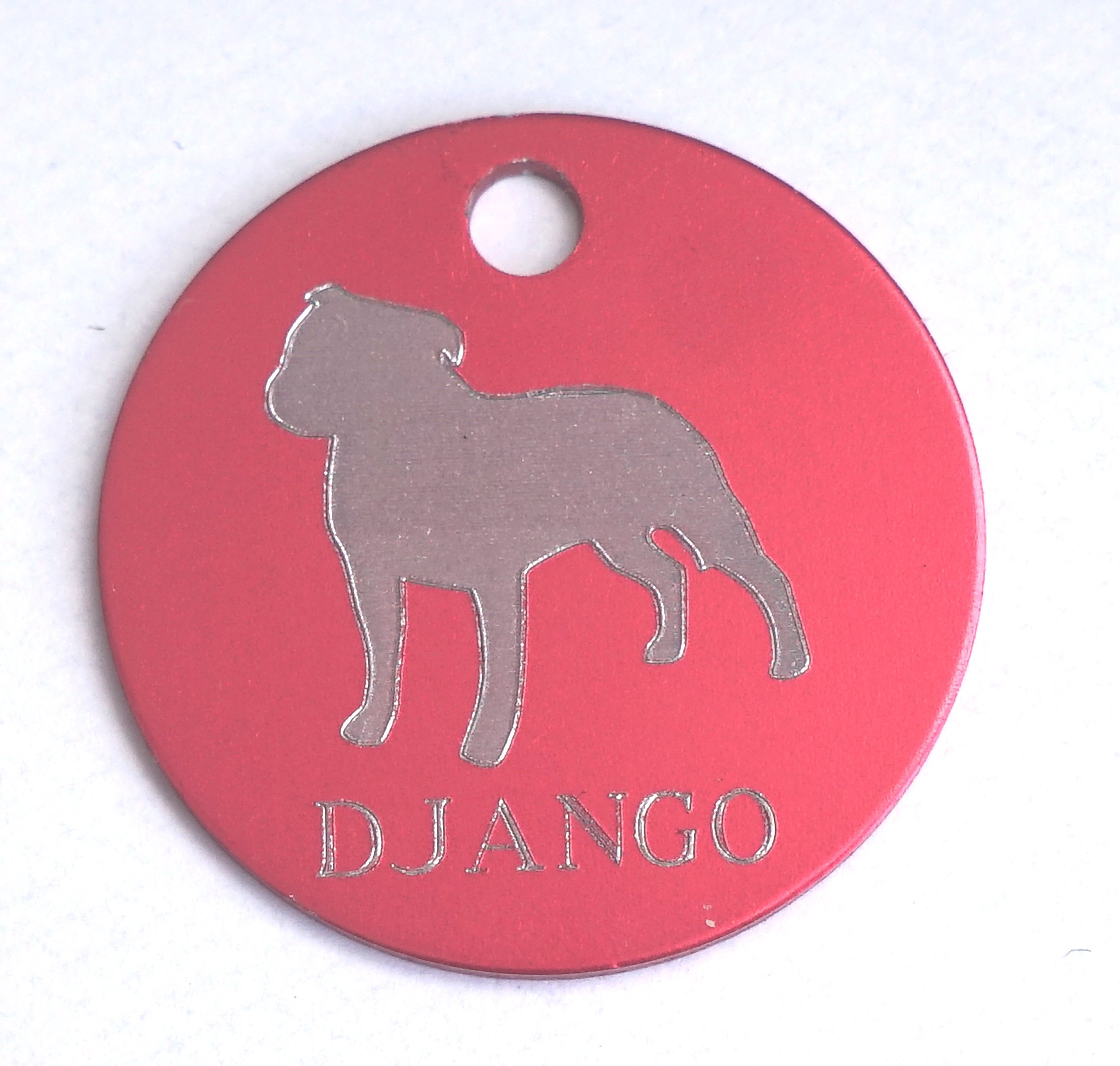 Paradise Pets PERSONALISED STAFFIE STAFFORDSHIRE BULL TERRIER DOG ID TAG  AVAILABLE IN 3 SIZES AND 9 COLOURS ENGRAVED FREE - TICK GIFT MESSAGE BOX TO