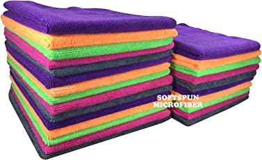 Softspun Microfiber Car Cleaning, Detailing & Polishing Cloth 340 GSM, 40x40cm, Multicolor, Pack of 25