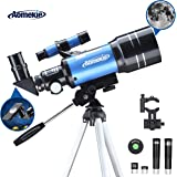 AOMEKIE 70 mm Travel Scope telescopes for Astronomy Beginners Refractor Telescope with Tripod Phone Adapter 5x24 finderscope 3X and 1.5X Barlow lensstar targetPlanisphere for Adults Kids