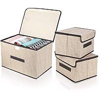 DIMJ Boites de Rangement en Tissu Pliable, Caisses de rangement avec couvercle e Poignées pour Jouets, Vetement, Livres…