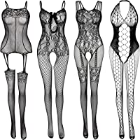 Women's Lace Stockings Lingerie Floral Fishnet Bodysuits Lingerie Nightwear for Romantic Date Wearing (4 Pack)