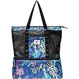 Netz-Strandtasche mit Kühltasche, für Reisen, Picknick, Spielzeug und Lebensmittel.