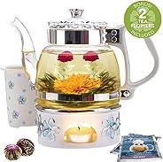 Teabloom Teekanne Princess of Monaco & Blütentee Geschenk Set (6 tlg.) - Teekanne aus Borosilikatglas (1000 ml), Porzellandeckel, Teekannenwärmer, Tee-Ei aus Porzellan + 2 Blühende Beerentees