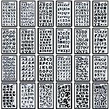 Lot de 24planches de pochoirs avec lettres et chiffres pour loisirs créatifs (10 x 18cm)