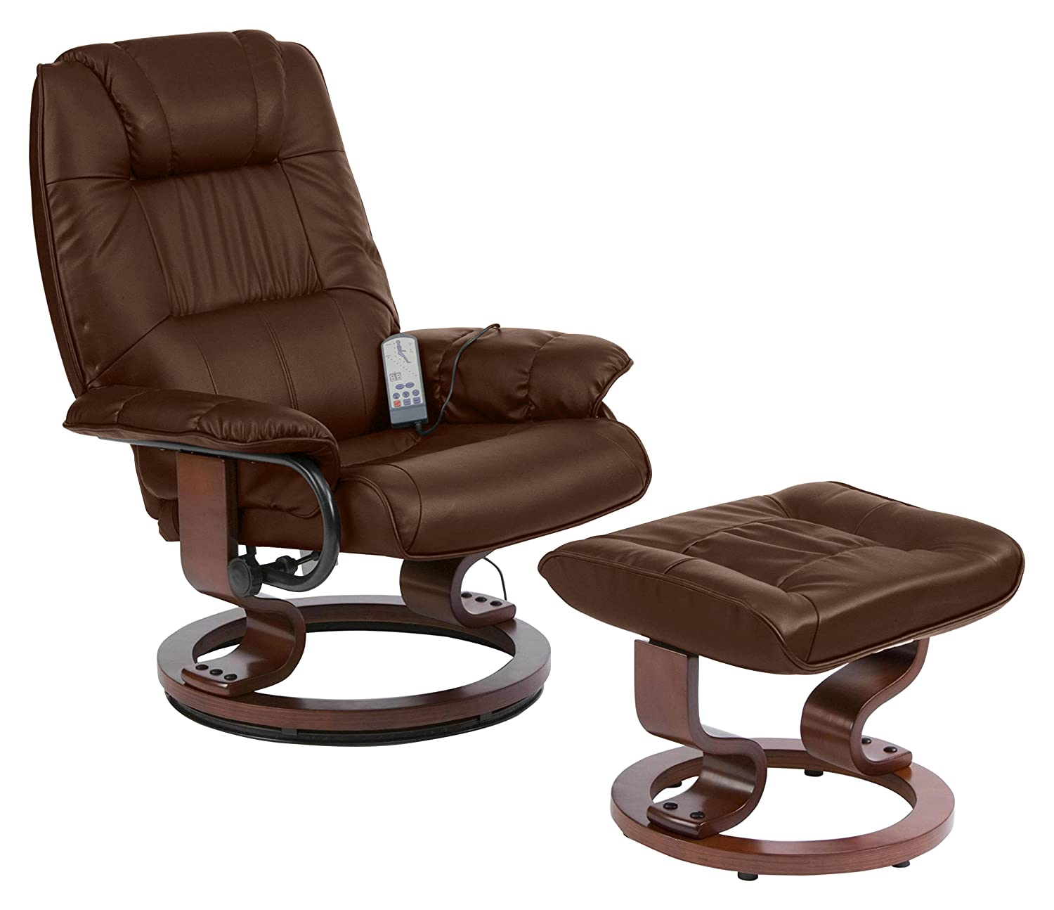 Napoli Recliner Black Massage Heat Chair And Foot Stool Amazon