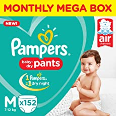 Pampers New Monthly Box Pack Diapers Pants, Medium (152 Count)