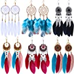 6 Pairs Women Faux Feather Earrings Bohemian Fringe Tassel Long Drop Dangle Earrings Set with Dream Catcher Design for...