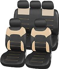 upgrade4cars Auto-Sitzbezüge Leder-Optik Beige   Universal Auto-Schonbezüge Set für Sommer & Winter   Kunstleder Pkw Sitzbezug Komplettset für die Vordersitze & Rückbank (B3 Schwarz)