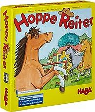 Haba 4321 - Hoppe Reiter Pferdestarkes Wettlaufspiel, für 2-4 Spieler von 3-12 Jahren, Spielbar in 3 Varianten, Brettspiel mit einfachen Spielregeln