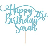 Personalised Happy Birthday Glitter Cake Topper by Cakeshop | Custom Colour Any Name & Any Age Glitter Cake Decoration…