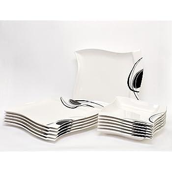 tafelservice scarlett 24 teilig eckig porzellan f r 12. Black Bedroom Furniture Sets. Home Design Ideas