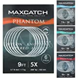 MAXIMUMCATCH Maxcatch Fly Fishing Tapered Leader Line 6 Pack -Pre-Tied Loop- Tensile Strength- Abrasion Resistance- Low Memor