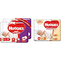 Huggies Wonder Pants, Extra Small Diapers Combo Pack of 2, 24 Counts Per Pack, 48 Counts & Huggies New Born Taped…