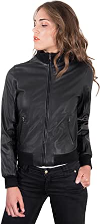 D'Arienzo Bomber in Pelle Nera Donna Made in Italy Primaverile Giacca Giubbotto Moto Vera Pelle Made in Italy G155