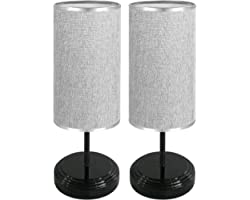 2 Pack Touch Control Bedside Table Lamp Dimmable Nightstand Light Brightness Adjustable Lamp with Fabric Shade for Bedroom Li