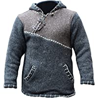 Cross Zipped Neckline Super Warm Jumper Style Pullover,Hippy Boho Woolen Hoodie