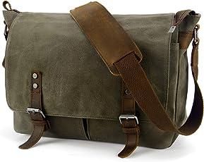 YANGYANJING Wasserdicht Vintage Canvas Leder Messenger Bag Umh?ngetasche Aktentasche Schultertasche 14 Zoll Laptoptasche Notebooktasche aus Canvas und Leder