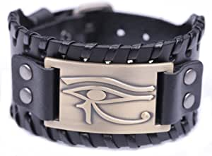 Teamer, braccialetto vintage in pelle con occhio di Horus, stile talismano egiziano pagano