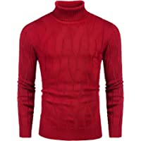 COOFANDY Mens Jumpers Slim Fit Turtleneck Twisted Knitted Pullover Jumpers