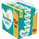 Pampers Sensitive Billendoekjes, 1200 Babydoekjes, Unieke pH Beschermende Formule, Zonder Parfum, Dermatologisch Getest (15 x