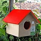PetNest HG1 Hanging Bird House, Wood (17 cm x 17 cm x 15 cm) (Red)