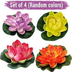 Tied Ribbons Set of 4 Artificial Floating Lotus Flowers with Rubber Leaf (Multicolor)