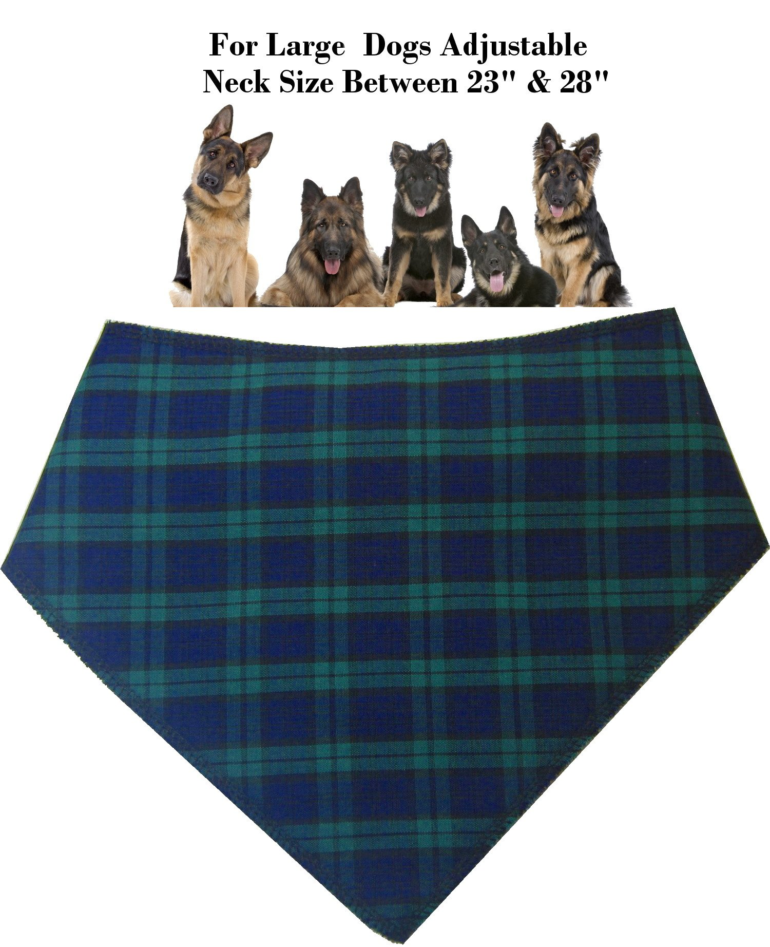 Spoilt Rotten Pets (S4) Branded Blue Tartan Dog Bandana. Adjustable Neck to Fit Large to Extra/Large Dogs – Neck Size 23″ – 28″ Generally Fits Chow Chow, German Shepherd, St Bernard, Dogue de Bordeaux and Similar Sized Dogs.