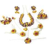 12SEASONS Latest Flower Jewellery Designer Yellow Pink Jwellery Set for Women & Girls (Mehandi/Haldi/Bridal/Baby Shower/Marri