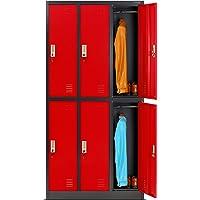 Casier vestiaire 3B2A armoire metallique 6 Compartiments revêtement en poudre 185 cm x 90 cm x 45 cm (anthracite/rouge)