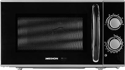 MEDION MD 15644 Mikrowelle/ca. 700 Watt Leistung/ca. 17 Liter Kapazität / 5 Stufen/Auftaufunktion / schwarz/silber