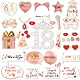 Rose Gold 18 Birthday Photo Booth Kit(35count),Qpout Sweet 18 Props Funny Chic Sweet eighteen Photo Props with Sticks…