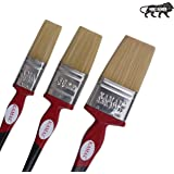 KAMAL Flat CHAPTA(WASH) Synthetic Premium RED and Black Handle Brush Set of 3(25mm, 38mm, 50mm)