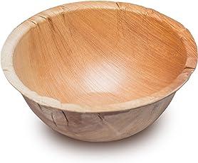 25 Holzschalen aus Palmblatt 500ml | edel & umweltfreundlich · unser stilvolles Palmblattgeschirr ist 100% kompostierbar | Einweggeschirr Obstschalen | Palmblätter als Suppenschalen