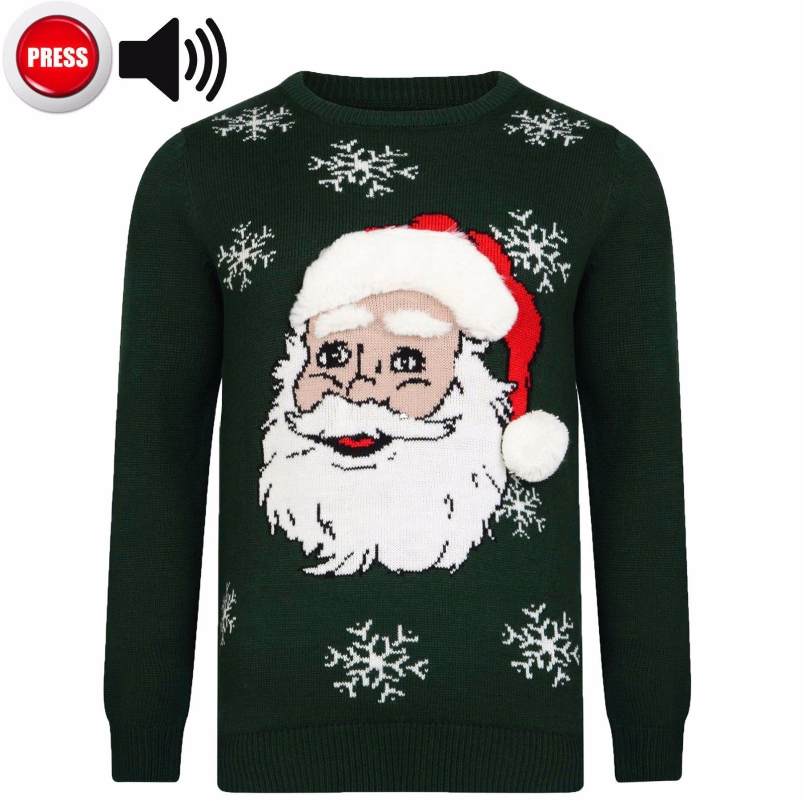 Mens Christmas Jumper Xmas Novelty Sweater Santa Elf Knitwear
